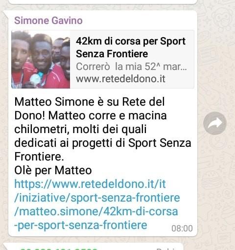 42km di corsa per Sport Senza Frontiere-Matteo Simone